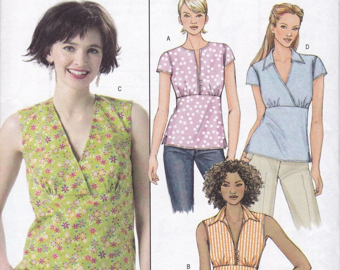 FREE US SHIP Butterick 4549 Sewing Pattern  4 Bodice Variation Summer Tops Sleeveless Size 8 10 12 14 Bust 31.5 32.5 34 36 Factory Folded