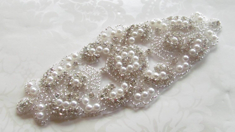Rhinestone Applique / Bridal Applique / Pearl Applique /