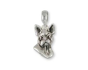Boston Terrier Charm Slide Jewelry Sterling Silver Handmade Dog Charm Slide BT16-PNS