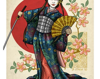 Geisha Samurai - 8x10 Giclee Print