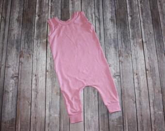 Baby Romper,Pink Harem Romper, Baby Girl Romper,Baby Harem Pants, Pink Romper
