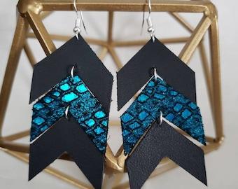 Chevron leather earrings, dangle chevron, lightweight, teal metallic NEW COLOR COMBO!