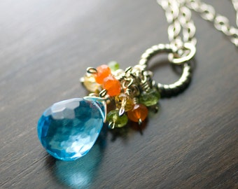 "Blue Quartz Necklace, Gemstone Cluster Sterling Silver Necklace - Caribbean Blue Quartz, Carnelian, Citrine, Peridot, Pendant - ""Jubilee"""