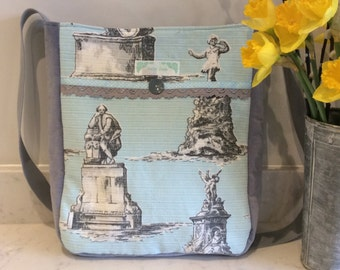 SALE! Vintage fabric and velvet fabric messenger bag - London statues