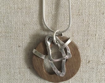 Wooden leaf Necklace, Sterling Silver Walnut Wood Pendant, Wood & Silver Necklace, Wood Necklace, Silver Necklace Pendant, Boho