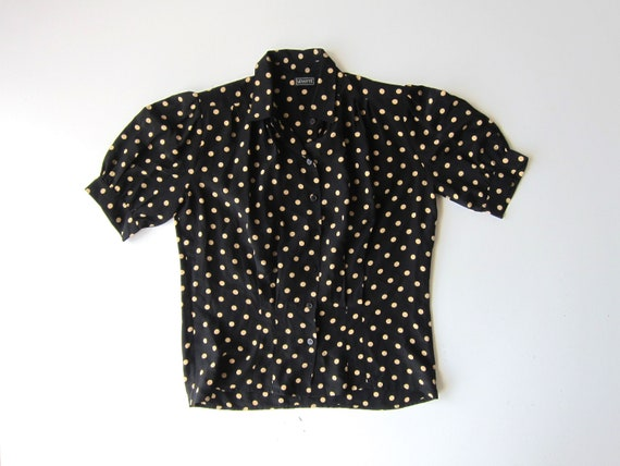 Silk Polka Dot Blouse 90s Black & Beige Dotted Top Vintage 80s Blouse Short Puffed Sleeve Casual Modern Shirt Secretary Womens 8 Medium
