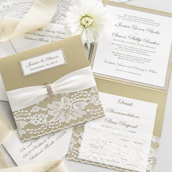 JESSICA - Square Lace Pocket Wedding Invitation- Champagne Gold & Ivory - Square Folding Invitation with Gold Glitter and Rhinestone Buckle