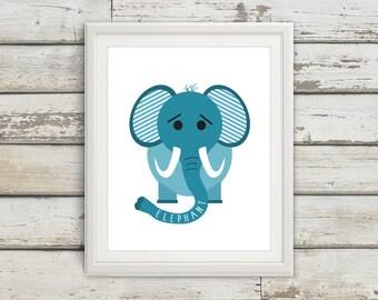 Elephant, Elephant Tail, Elephant Wall Art, Elephant Print, Elephant Poster, Elephant Kids, Nursery, Nursery Wall Art, Nursery Decor