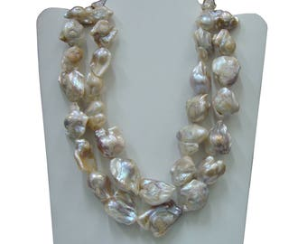 Lovely Baroque Pearl 925 Sterling Silver Hand Crafted Designer Beaded Necklace For New Year