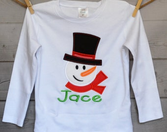 Snow Man Girl with Hat & Scarf Applique Shirt or Onesie Boy or Girl