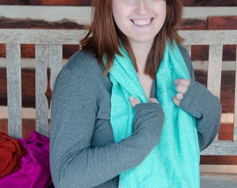 Nursing Scarf Infinity Teal Breastfeeding Cover Up Blue READY TO SHIP - Aquamarine