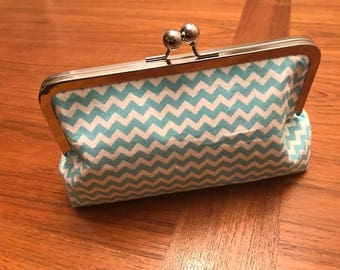 Blue and White Chevron Clutch Purse