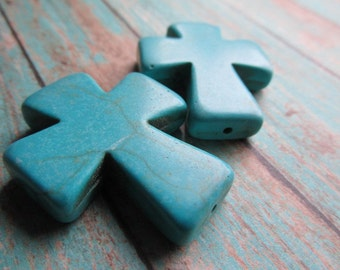 Choice of One or Two Turquoise Magnesite Cross Pendants, Cross, Christian Symbol, Turquoise Cross, Magnesite,