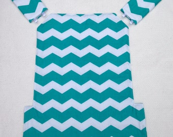 Jazz and Go baby carrier cover and strap pads for Ergo for baby wearing in turquoise and white chevron cotton fabric