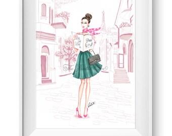 Fashion illustration print, Fashion art, girl art, girls room art, watercolor, vanity art, paris art - Lets get Lost!