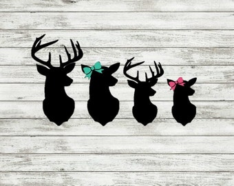 Deer Head Family Decals | Family | Stickers | Mom | Dad | Kids