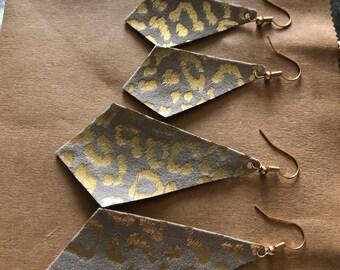 Gold leopard leather earrings diamond tan shimmer lightweight