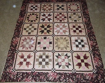 Strawberries and Chocolate Patchwork Quilt