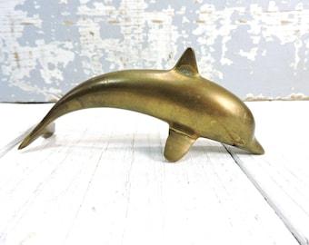 Small Brass Dolphin Statue Mid Century Home Decor Vintage Brass Nautical Sea Animal Nautical Beach Casual Coastal Decor Yacht Office