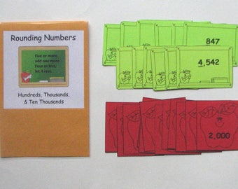 Teacher Made Math Center Rounding Numbers Hundreds Thousands & Ten Thousands