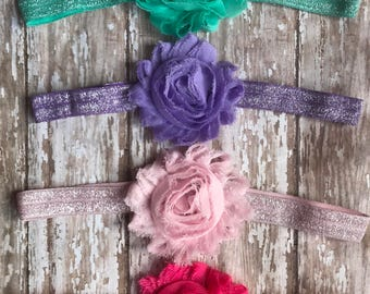 MANY COLORS Sparkly Infant/Children's Headbands: Chiffon Flowers on a matching sparkly headband Baby, Toddler, Children's, Girls