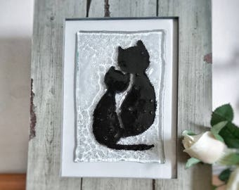 Cats love in glass-cats love-decoration-cat-Glass deco-Cat Deco