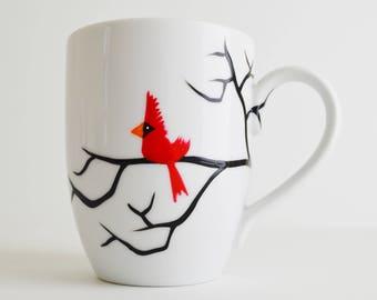 Christmas Cardinal Mug - Single Hand Painted Red Bird Christmas Mug