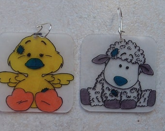 sheep and plush duck earrings