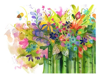 Be Yourself Print high quality giclee art floral bee watercolor painting Lauren Ingraham