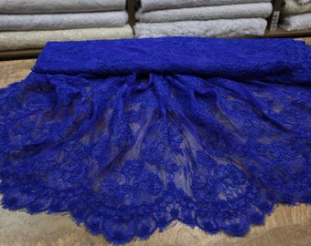 Royal blue Chantilly lace, French cord lace, fabric lace, buy yard, Chantilly red, lace for dress-1 / yard