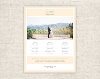 Pricing Guide Template Design - Photo Price List Template for Photographers, Wedding Photography Photoshop Design Template, INSTANT DOWNLOAD