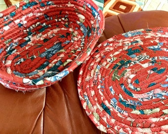 Coiled Fabric Oval Mat 12 x 10 Inches, and 12 x 8 inch basket...Cranberry and Blue, handmade