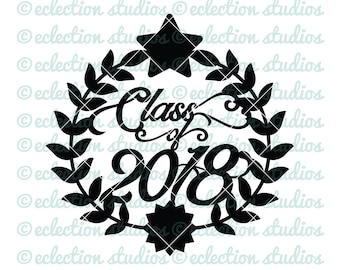 Cake topper SVG, Class of 2018, graduation, high school, college, party cake topper file DXF for silhouette or cricut die cutting machine