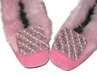 Pink Shoes Pink Fur Slippers Pink House Slippers Pink House Shoes Low Heeled Slippers Pink Ladies Slippers Beaded Slippers