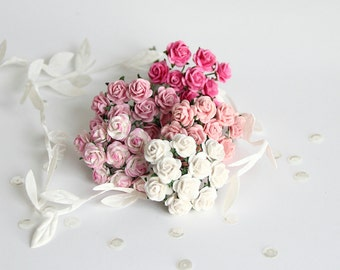 50 pcs - Shades of pink paper rose / 1cm roses / mulberry paper roses
