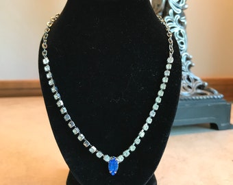 Vtg Art Deco White & Blue Rhinestone Necklace ~ 16""