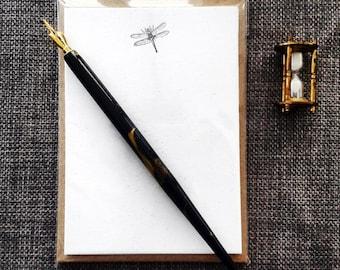 Letterpress Notecards, Dragonfly design -  set of 8 supplied with envelopes