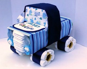 Truck Diaper Cake   Diaper Cake Boy   Unique Diaper Cake   Baby Shower Gift    Boy Baby Shower Centerpiece   OOAK Gift Ideas