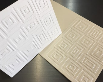 Layered Squares Foldover with patterned embossed cover  Blank inside set of 4 and envelopes