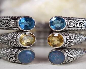 Gemstone Bangles // Sterling Silver