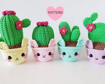 Cactus Bunnies PDF Pattern, amigurumi, crochet