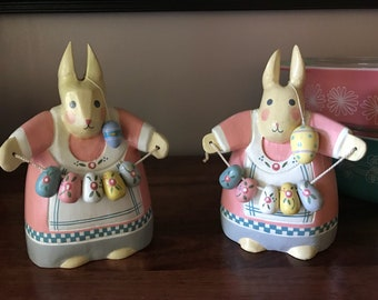 "Set of vintage wooden easter bunnies 7"" tall"