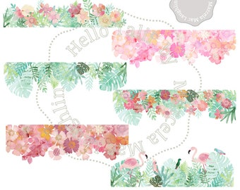 Watercolor Flower BORDERS Clip Art- 6 digital borders Tropical Summer borders flowers leaves flamingos birds Wedding invites picture overlay