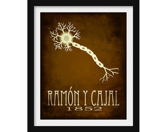 Neuroscience Gift, Brain Neuron Illustration, Spanish Scientist Gift, Ramon y Cajal Science Poster, Science Gift, Anatomy Art Neurology Gift