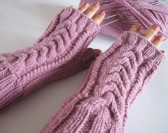 Fingerless gloves knit mittens wool gloves personalized ready to ship pink gloves womens knit mittens women gift girlfriend Christmas gift