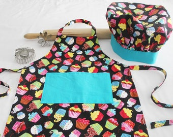 Colorful Cupcakes on Black Child Apron and Adjustable Chef Hat with Teal Accents