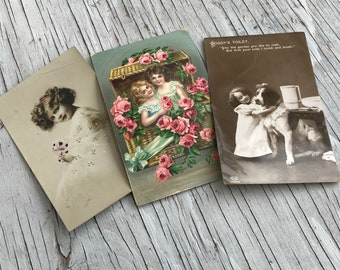 Vintage pretty postcards, cute collection of postcards. Framed would make a lovely gift. Listing is for all 3 cards.