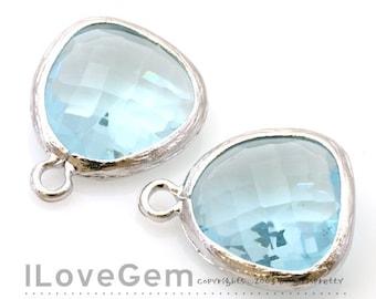 P1750 Rhodium plated, Aquamarine, Glass fancy rosecut 12.5mm, Glass pendant, Framed glass, 2pcs