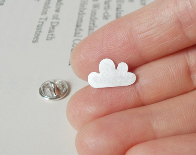 The Lucky Cloud Pin/ Lapel Pin/ Tie Tack From The Weather Forecast Collection In Sterling Silver, Handmade In The UK