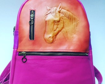Leather Custom Made Mini Backpack-Horse Design-Gift